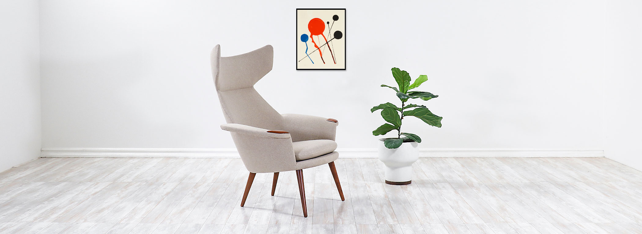 Danish Modern Wingback Lounge Chair with Teak Accent Paws Image
