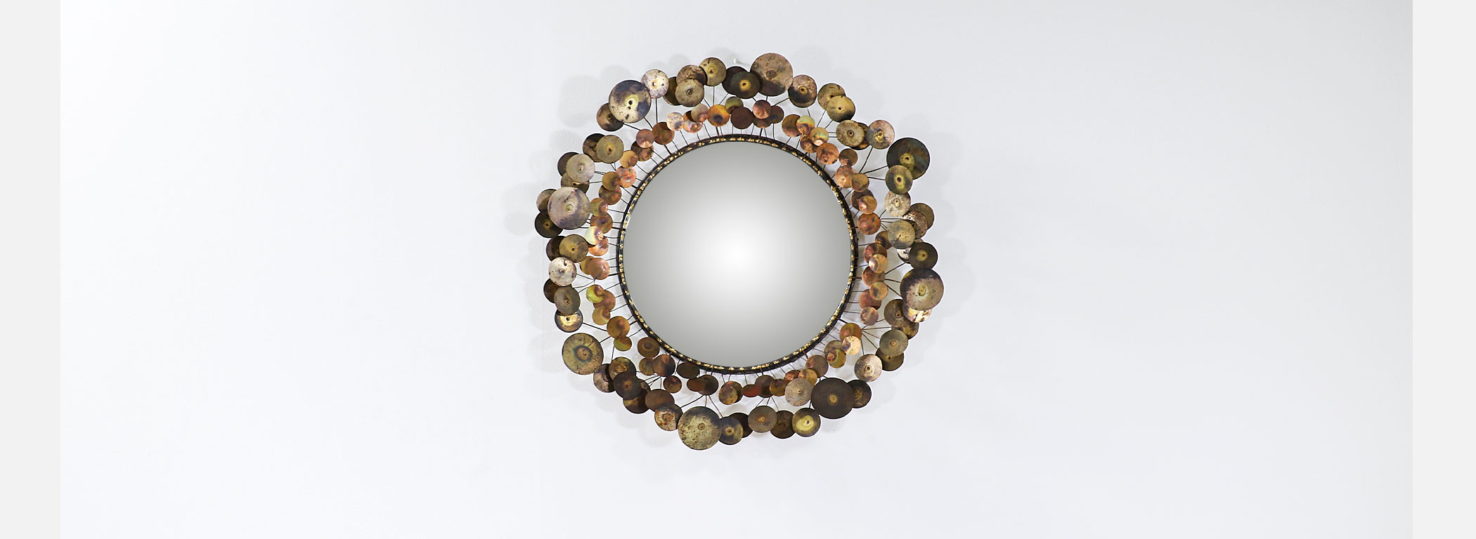 """Vintage Curtis Jere """"Cloud"""" Brass Mirror for Artisan House Image"""