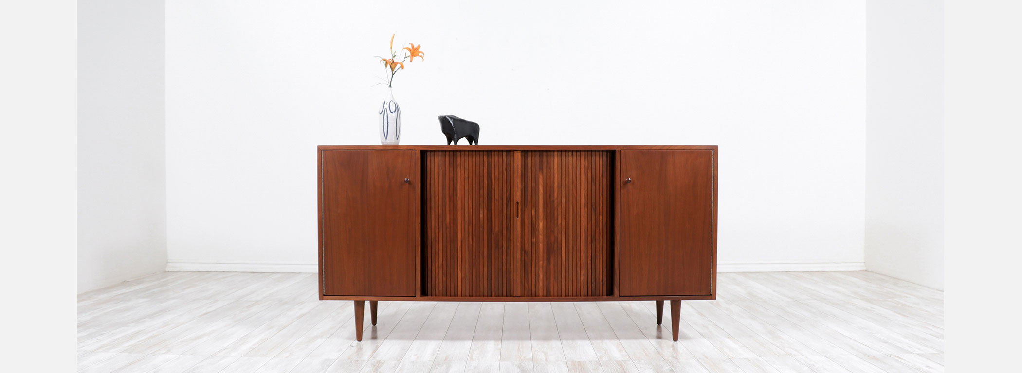 Milo Baughman Tambour-Door Credenza with Colored Drawers for Glenn of California Image