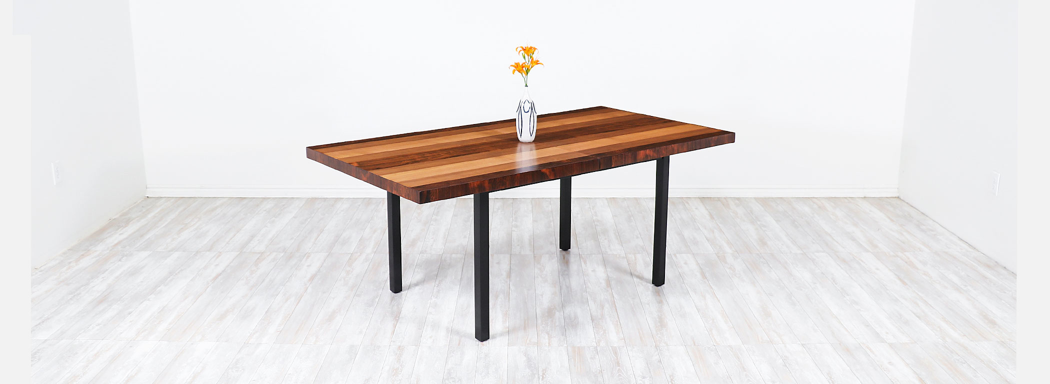 Milo Baughman Expanding Multi-Wood Dining Table for Directional  Image