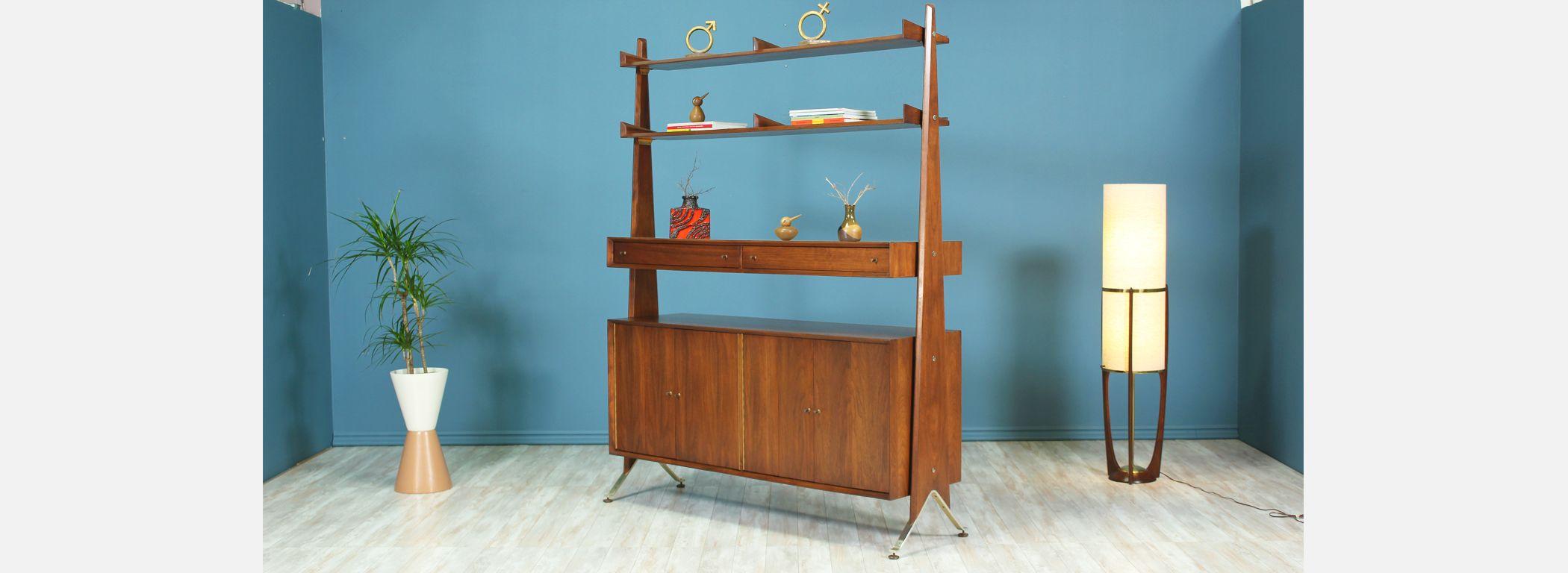 Swedish Modern Free-Standing Bookshelf Unit Image