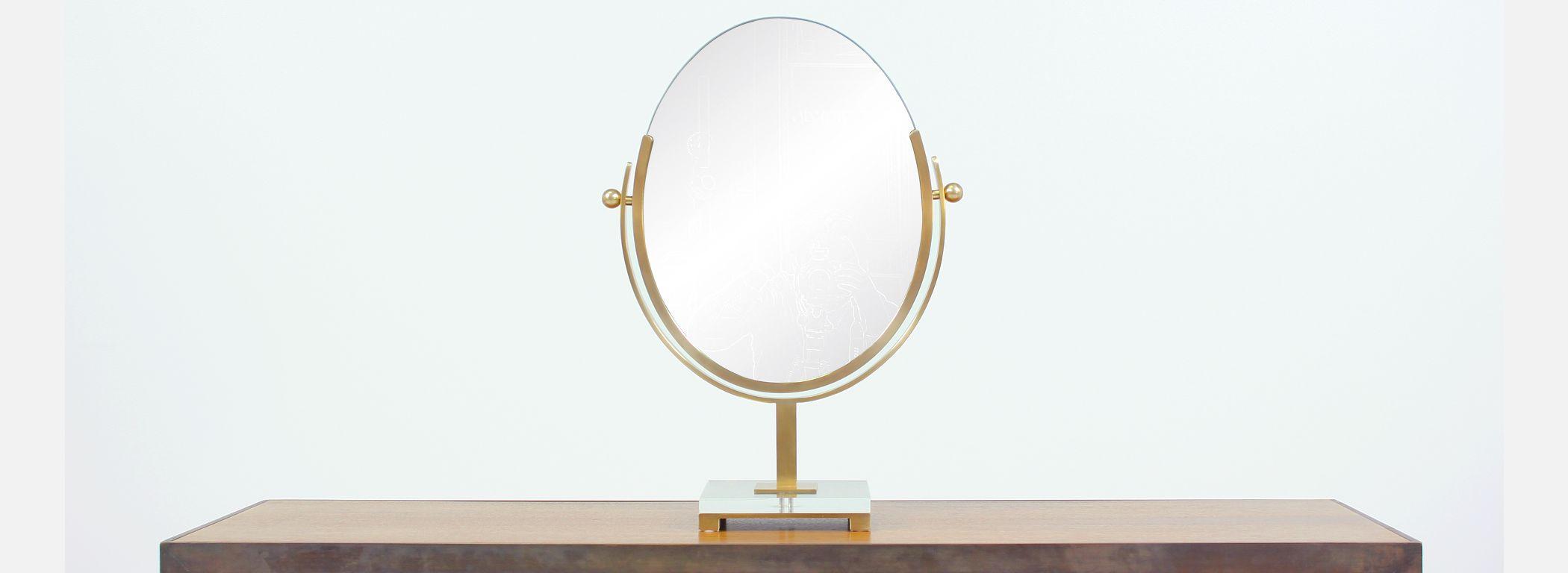 Charles Hollis Jones Double Sided Brass Mirror Image